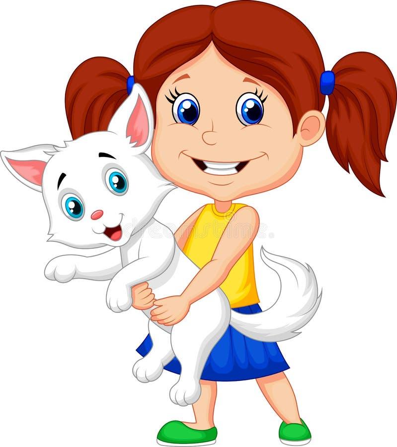 Bambina felice del fumetto che abbraccia il suo animale domestico illustrazione vettoriale