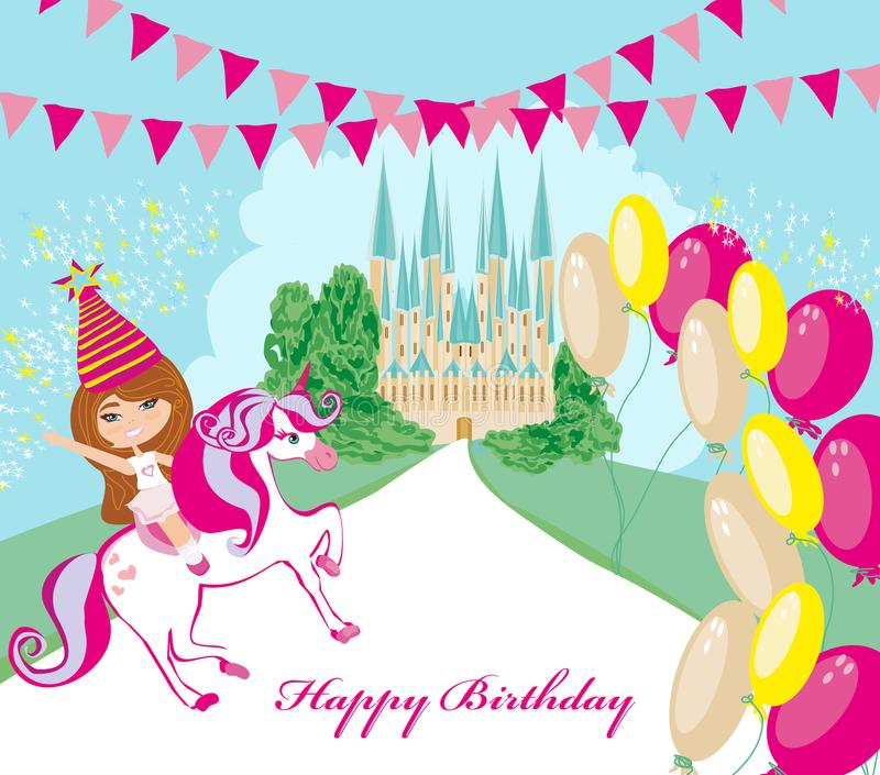 Bambina felice sull'unicorno in mondo di fantasia illustrazione vettoriale