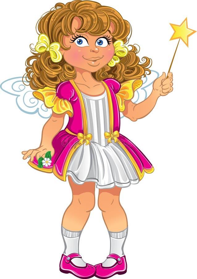 Bambina graziosa nel colore rosa illustrazione vettoriale