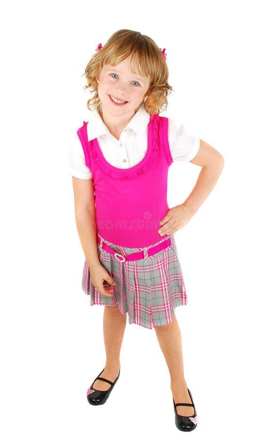 Bambina graziosa in vestito dentellare immagini stock libere da diritti