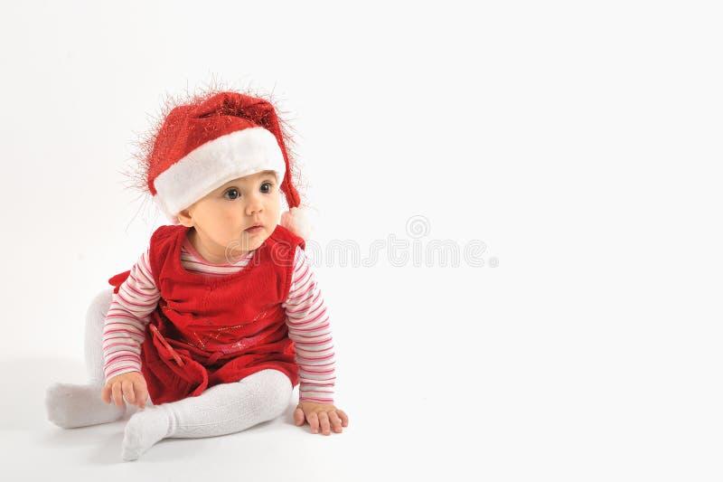 Bambina nel tempo di natale immagini stock