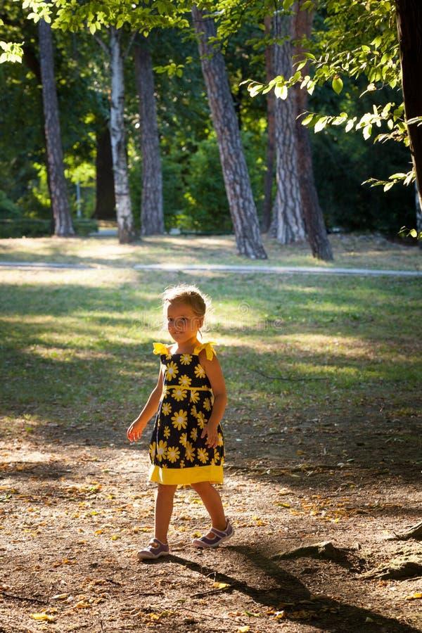 Bambina nella passeggiata sveglia del vestito da estate in parco immagini stock