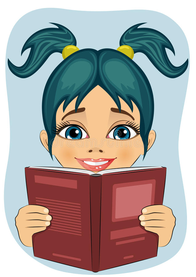 Bambina sorpresa che legge libro interessante illustrazione vettoriale