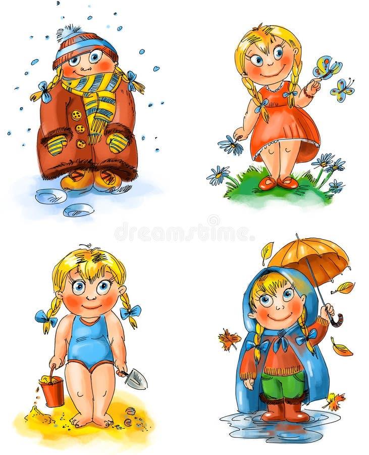 Bambina. Stagioni illustrazione di stock
