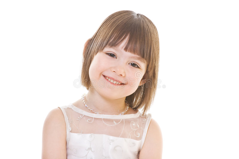 Bambina su priorità bassa bianca fotografia stock libera da diritti