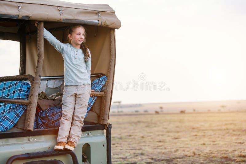 Bambina sul safari immagine stock libera da diritti