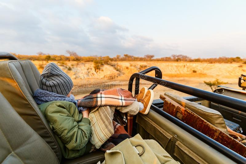 Bambina sul safari fotografia stock
