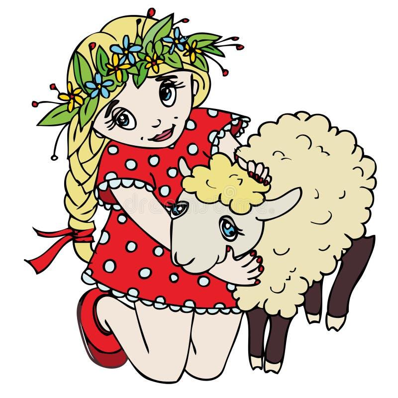 Bambina sveglia che abbraccia un agnello illustrazione di stock