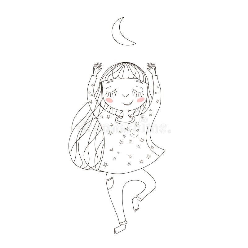 Bambina sveglia che esercita yoga sotto la luna immagini stock