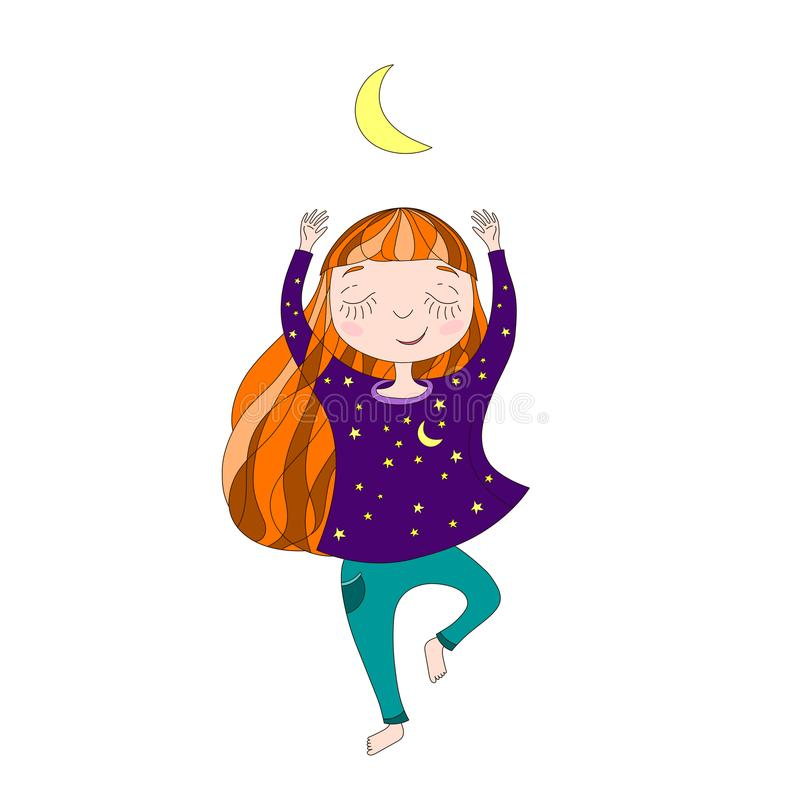 Bambina sveglia che esercita yoga sotto la luna immagini stock libere da diritti