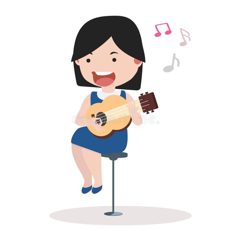 Bambina sveglia che gioca chitarra illustrazione di stock