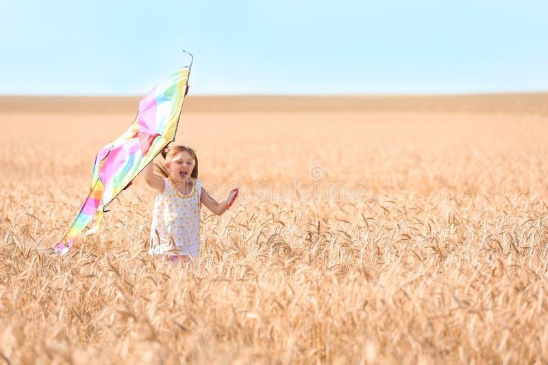 Bambina sveglia che gioca con l'aquilone nel giacimento di grano il giorno di estate fotografia stock libera da diritti