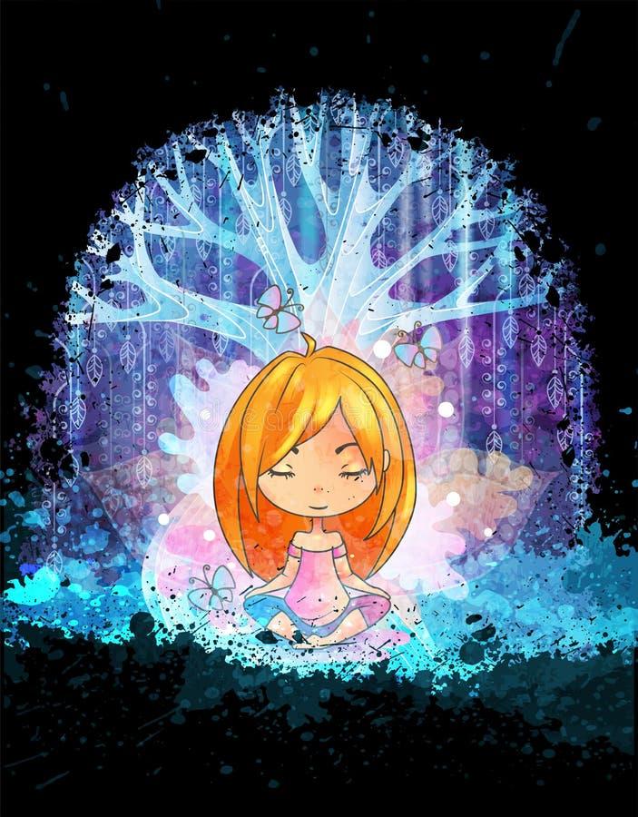 Bambina sveglia che medita davanti all'albero surreale magico Illustrazione di vettore di Grunge illustrazione vettoriale