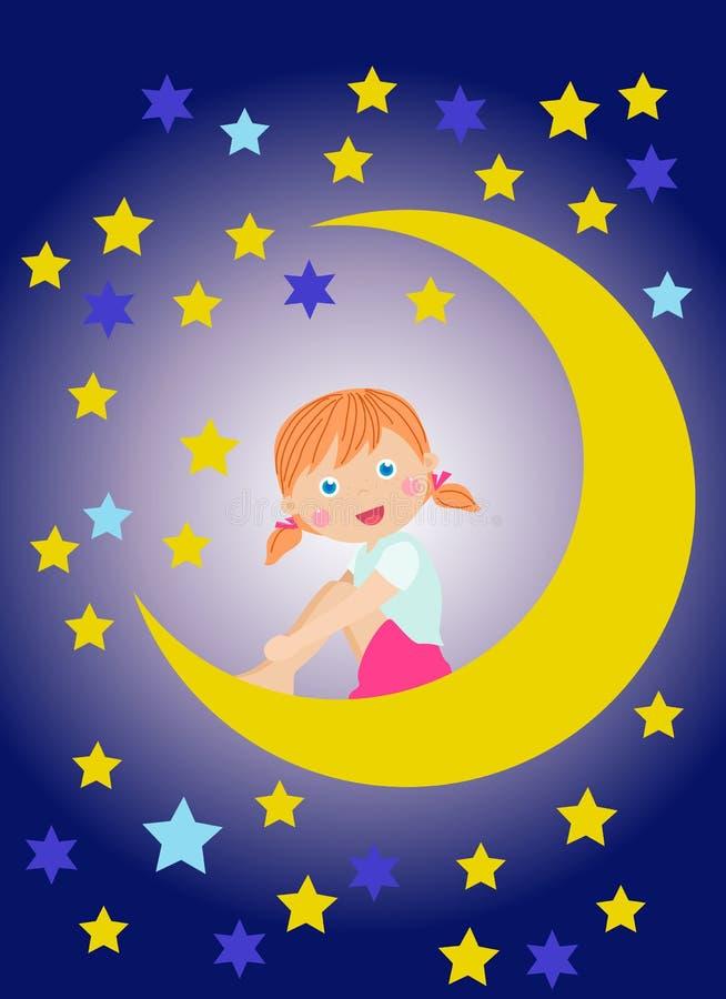 Bambina sveglia che si siede sulla luna illustrazione di stock