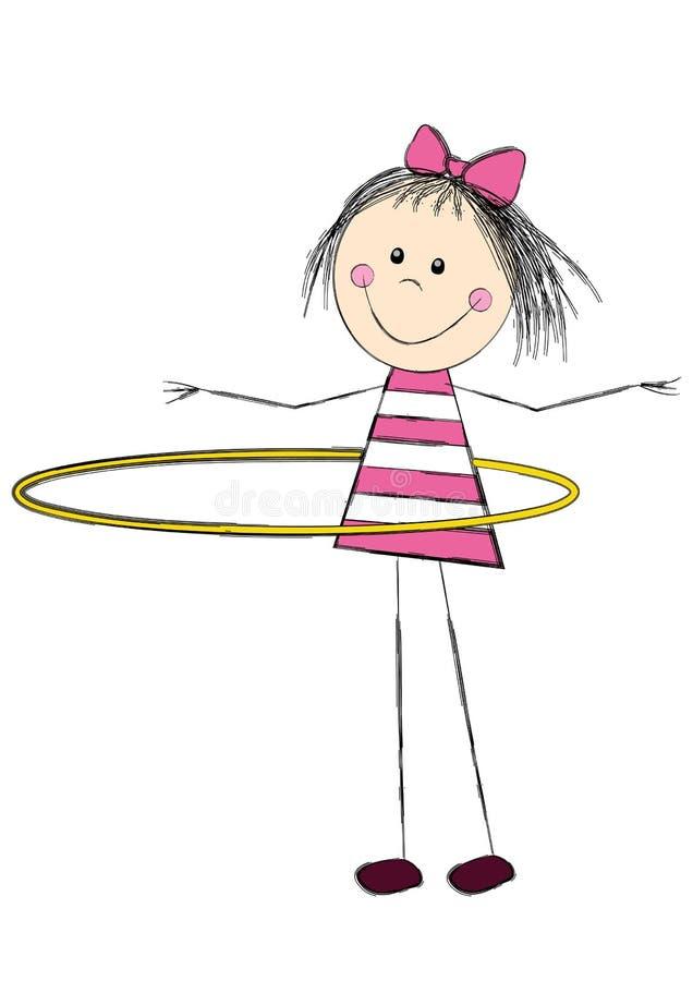 Bambina sveglia con il cerchio illustrazione di stock