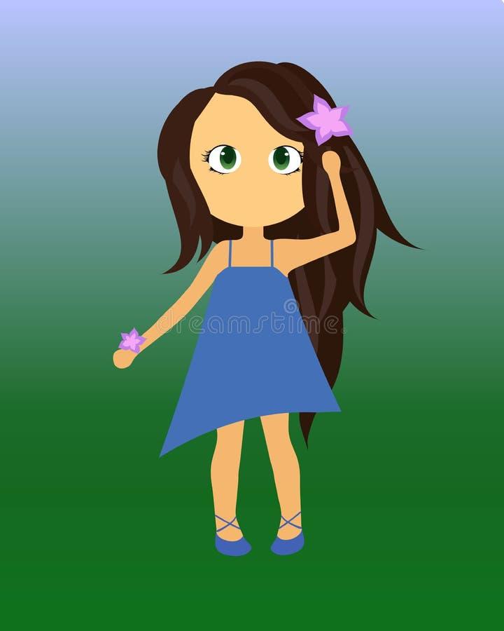 Bambina sveglia con il fiore della lavanda che indossa un vestito blu da estate e le scarpe blu immagine stock