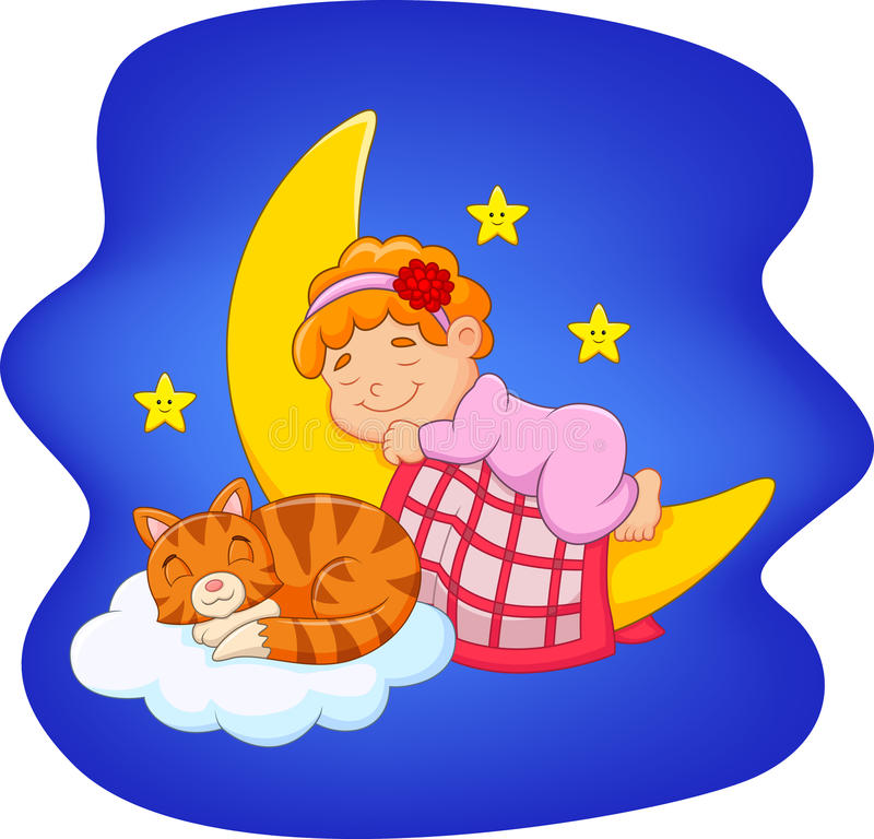 Bambina sveglia con il gatto che dorme sulla luna illustrazione di stock