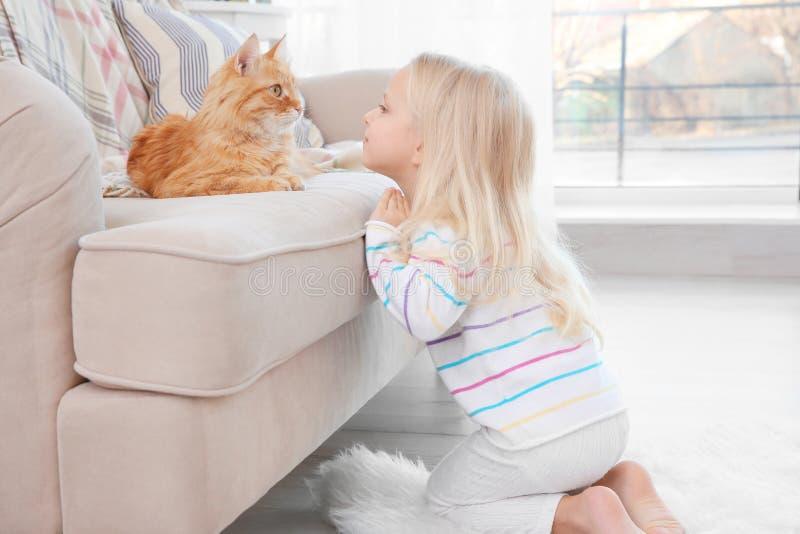 Bambina sveglia con il gatto rosso a casa fotografia stock libera da diritti