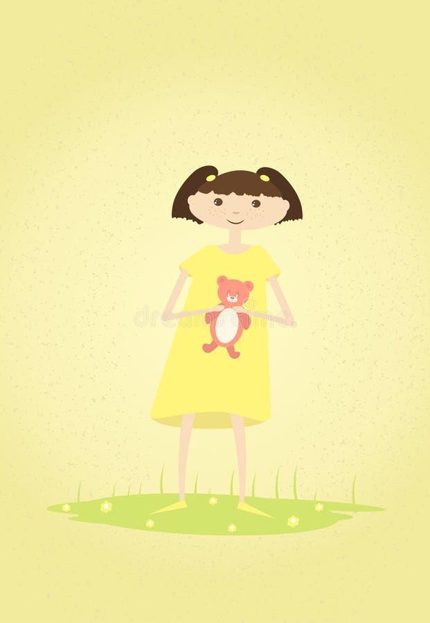 Bambina sveglia con l'orsacchiotto in sue mani Vettore illustrazione di stock