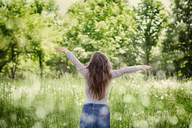 Bambina sveglia con le mani sollevate in aria che sta contro la natura magica nel giorno soleggiato fotografie stock libere da diritti