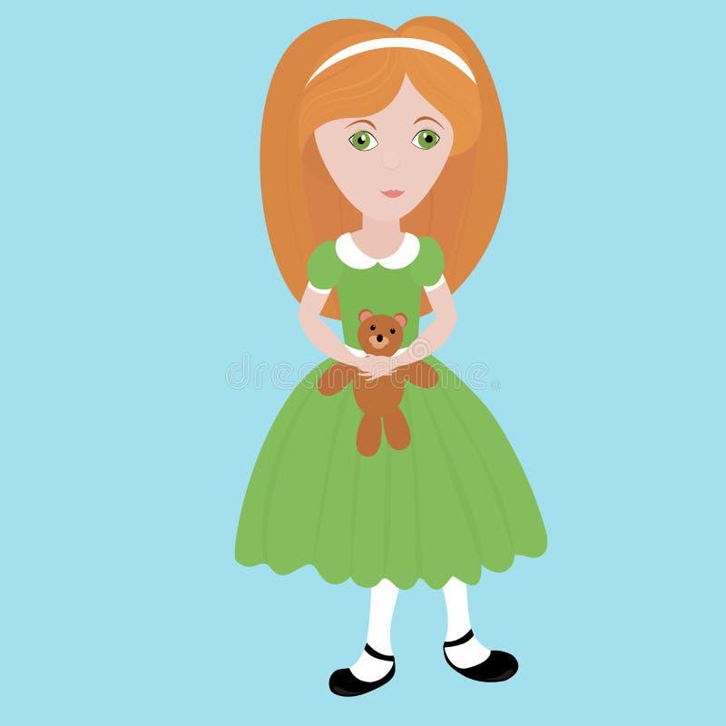 Bambina sveglia del fumetto con capelli arancio che portano vestito verde che tiene piccolo orsacchiotto Bambino felice royalty illustrazione gratis