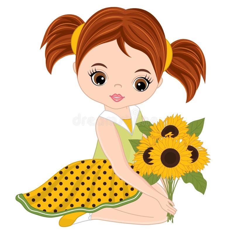 Bambina sveglia di vettore con i girasoli royalty illustrazione gratis