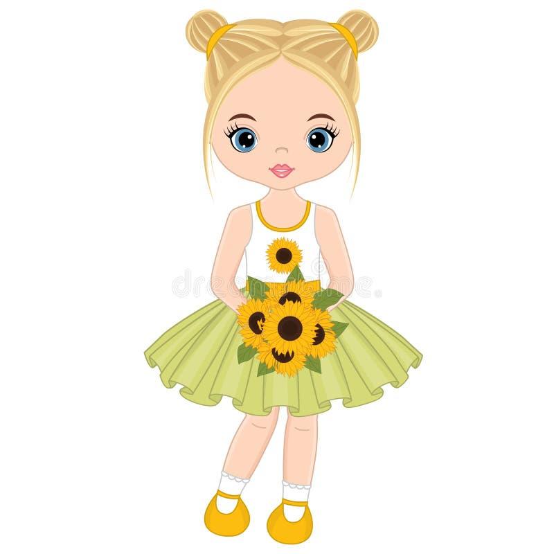 Bambina sveglia di vettore con i girasoli illustrazione di stock
