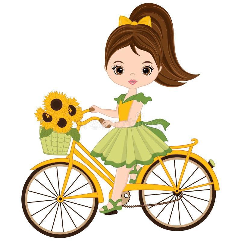 Bambina sveglia di vettore con la bicicletta illustrazione di stock