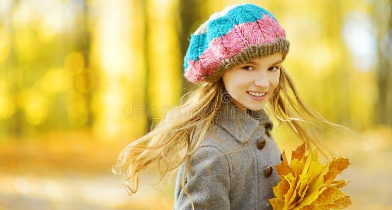 Bambina sveglia divertendosi il bello giorno di autunno Bambino felice che gioca nel parco di autunno Bambino che riunisce il fog fotografie stock libere da diritti