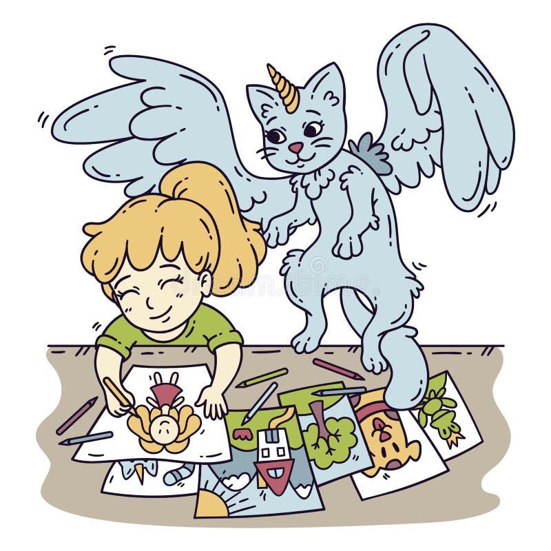 Bambina sveglia ed il suo amico immaginario royalty illustrazione gratis