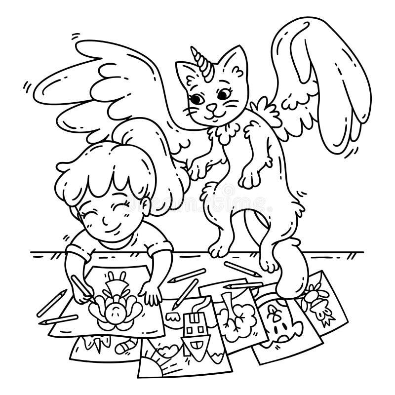 Bambina sveglia ed il suo amico immaginario illustrazione vettoriale