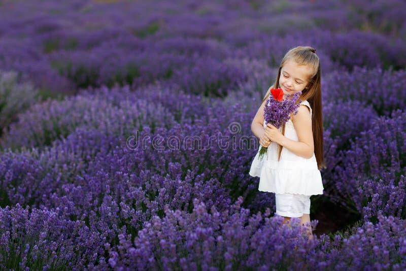 Bambina sveglia felice nel mazzo della tenuta del giacimento della lavanda dei fiori porpora fotografie stock libere da diritti