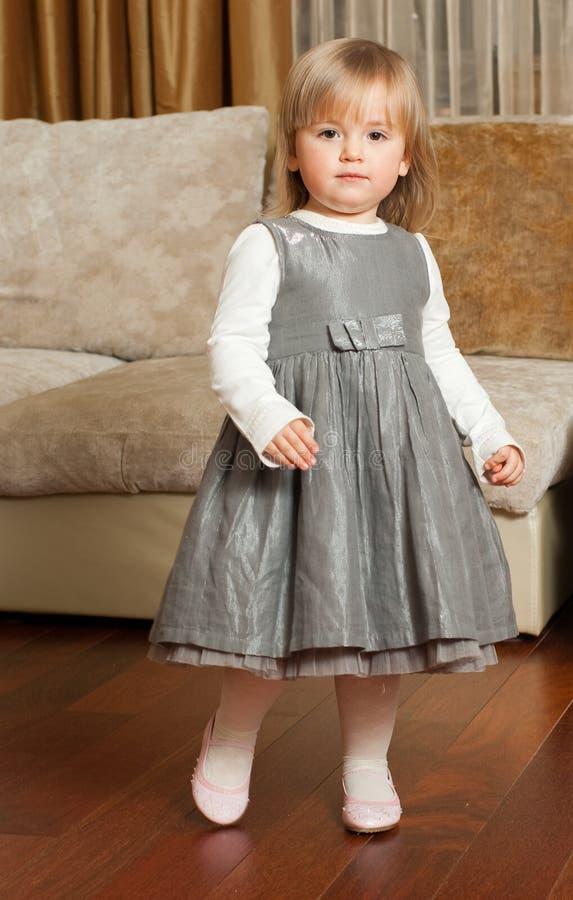 Bambina sveglia in un vestito grigio fotografia stock