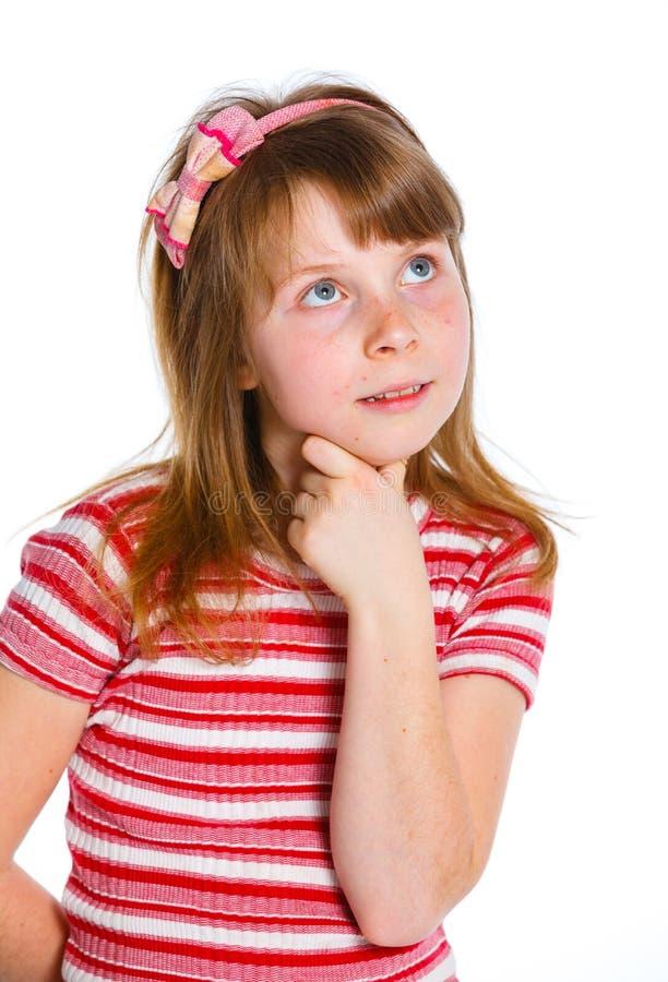 Bambina sveglia in vestiti rossi fotografie stock