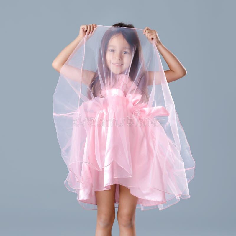 Bambina sveglia in vestito rosa da principessa su fondo grigio immagine stock
