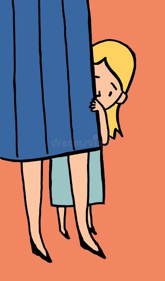 Bambina timida illustrazione di stock
