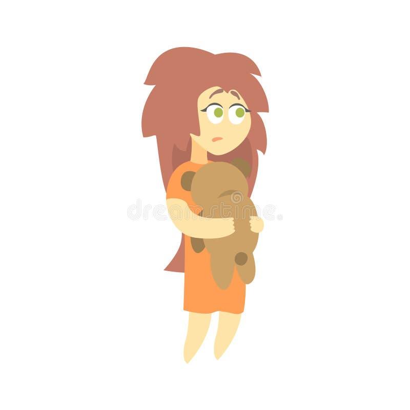 Bambina triste con Teddy Bear Feeling Blue, parte della serie femminile depressa dei personaggi dei cartoni animati royalty illustrazione gratis