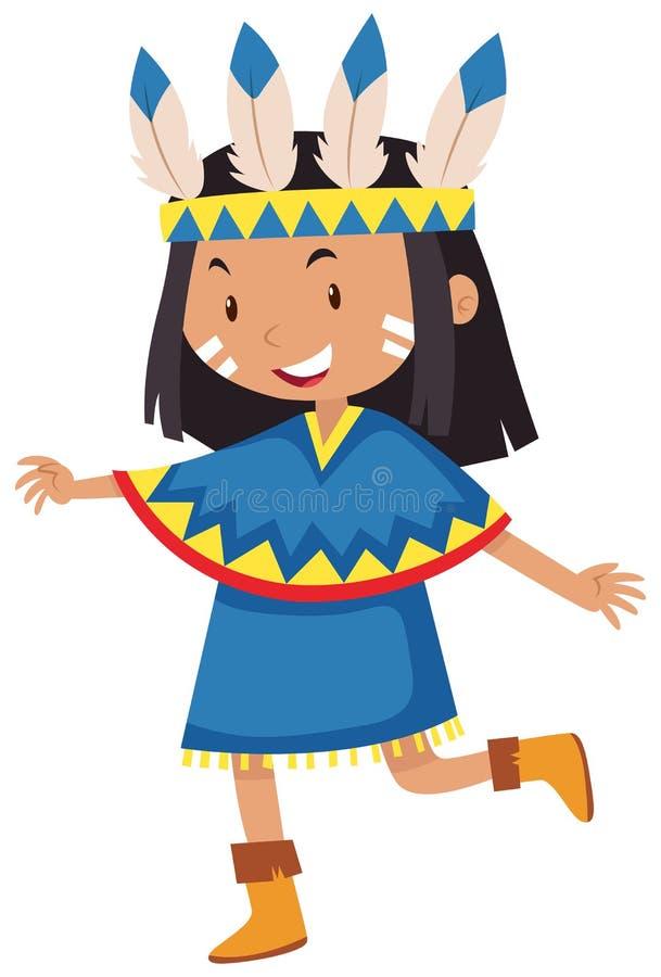 Bambina vestita come indiano del nativo americano royalty illustrazione gratis