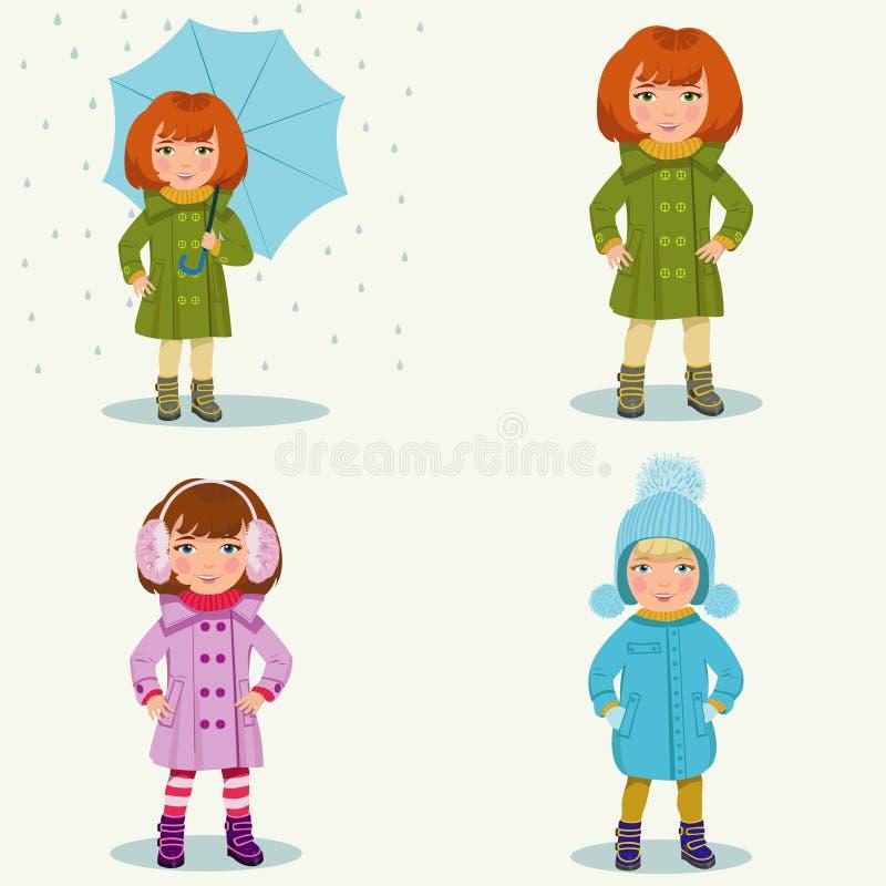 Bambina in vestiti caldi illustrazione di stock