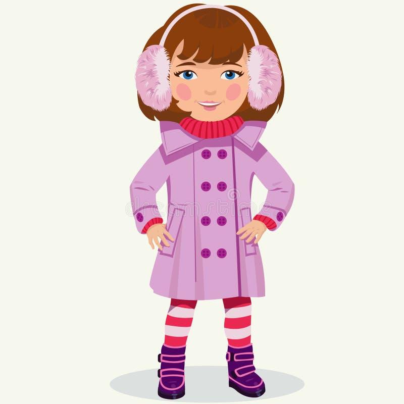 Bambina in vestiti di inverno illustrazione vettoriale