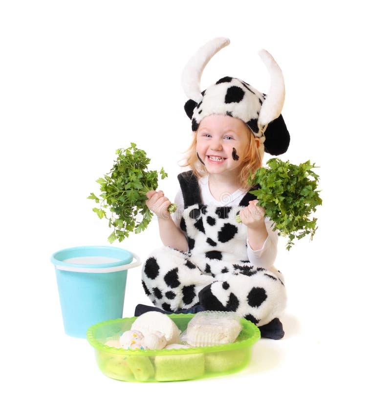 Bambina in vestito operato fotografie stock