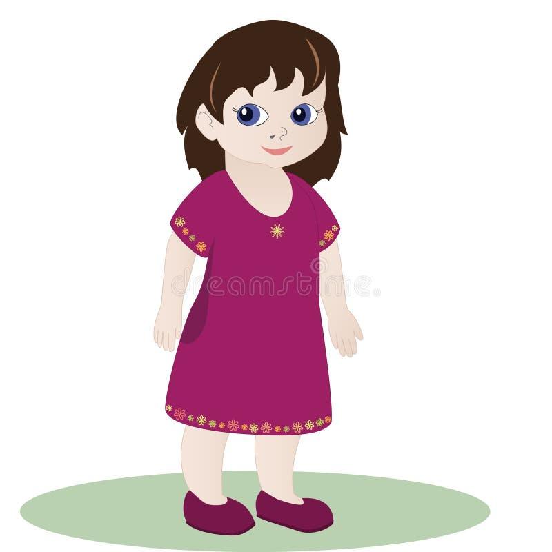 Bambina in vestito rosa royalty illustrazione gratis