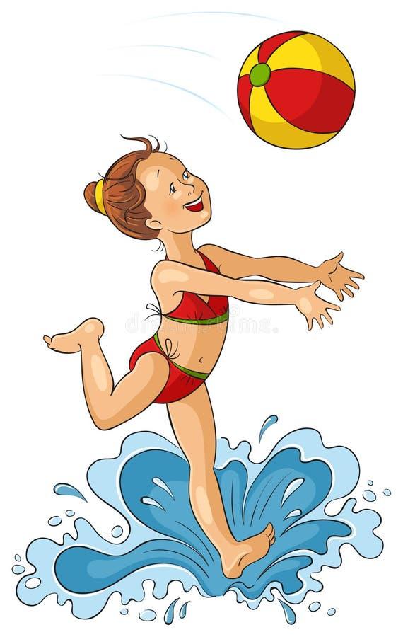 Bambine che giocano con il beach ball illustrazione vettoriale