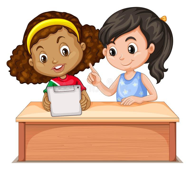 Bambine che per mezzo del computer illustrazione vettoriale