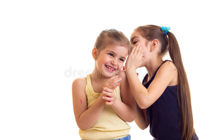 Bambine con le mani colorate fotografia stock libera da diritti