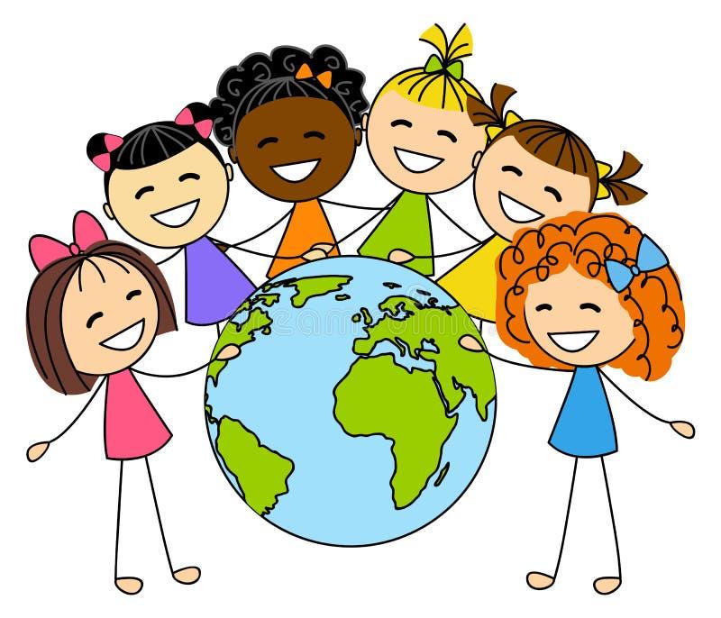 Bambine sveglie con il pianeta della terra illustrazione vettoriale