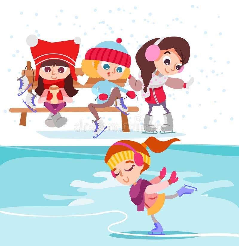 Bambine sveglie del fumetto sulla pista di pattinaggio sul ghiaccio royalty illustrazione gratis