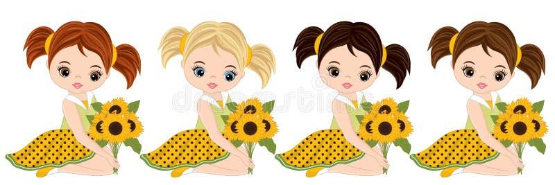 Bambine sveglie di vettore con i girasoli illustrazione di stock