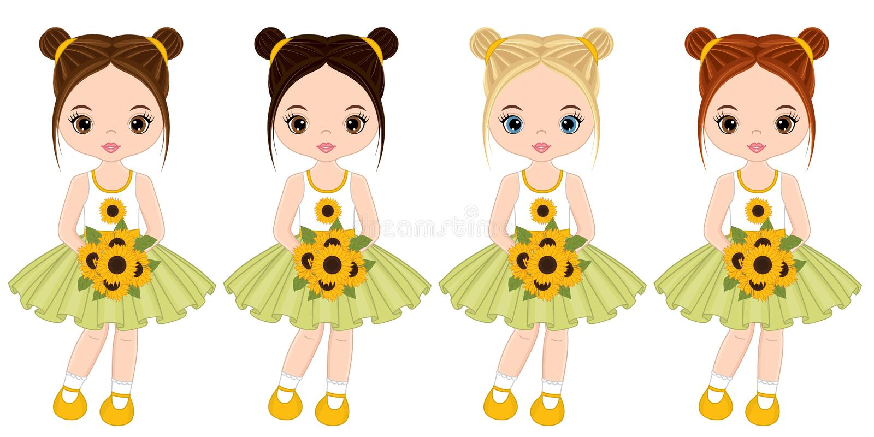 Bambine sveglie di vettore con i mazzi dei girasoli royalty illustrazione gratis
