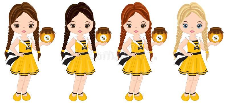 Bambine sveglie di vettore con i vari colori dei capelli vestite nello stile dell'ape illustrazione di stock